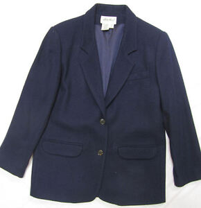 Bauer classic 100 wool navy blue blazer women s petite medium ebay