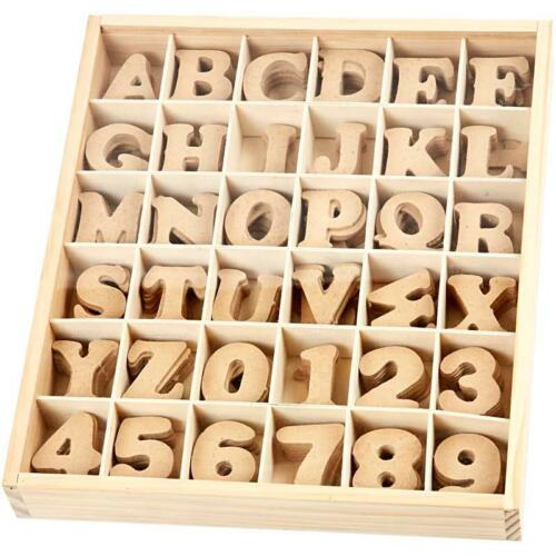 MDF 4cm Letters x 288 Letters Numbers Alphabet in A Woden Box With Lid 8 Of Each