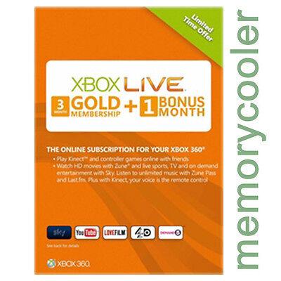 4 MESES 3 + 1 month GOLD SUBSCRIPCIÓN Tarjeta Prepago Xbox 360 Xbox ONE ESPAÑA