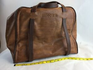 VTG SINGER Sewing Machine Travel Vinyl /Carry Case/Storage Bag Faux Leather