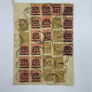 1923 OBERWINDEN GERMANY COVER WITH 27 INFLATION STAMPS $3.125M MARK