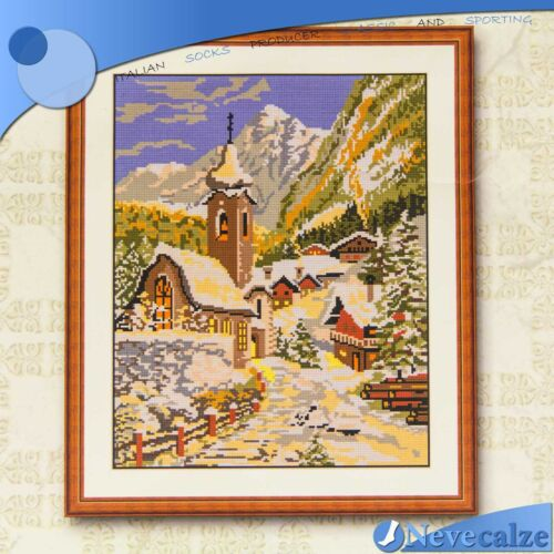 Kit Embroidery Half Point 40x50 Complete Wire Colorful Landscape tsric 005