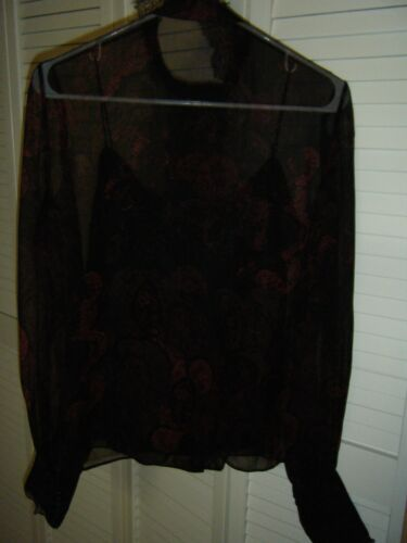 ELIE TAHARI SMALL BLACK RED SILK BLOUSE WITH BLACK