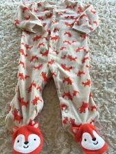 Child Of Mine Boys Tan Orange Fox Fleece Long Sleeve Pajamas 3-6 Months
