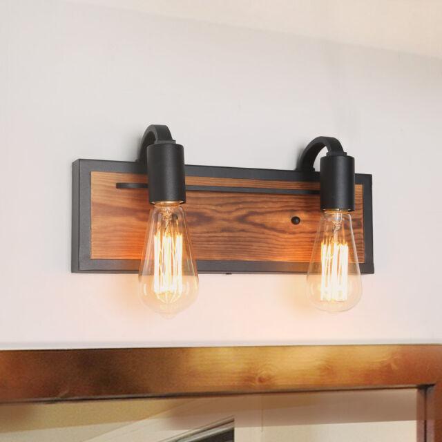 Bathroom Black Lamps Wood Wall Sconces