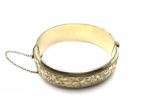 Vintage-Ornate1-5t-9ct-Rolled-Gold-Half-Floral-Bracelet-Bangle-With-Safety-Chain