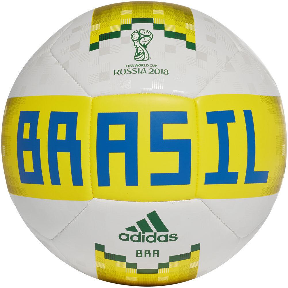 Adidas WC World Cup 2018 Glider Brazil Brasil Soccer Ball New White   Yellow