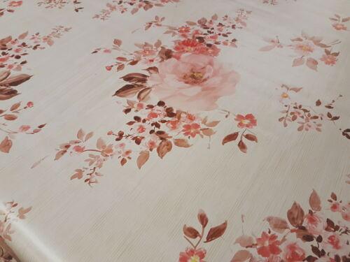 PVC Table Nappe Roses Rose BAIE rouge bordeaux en lin Look Floral Printemps Essuyer Capable