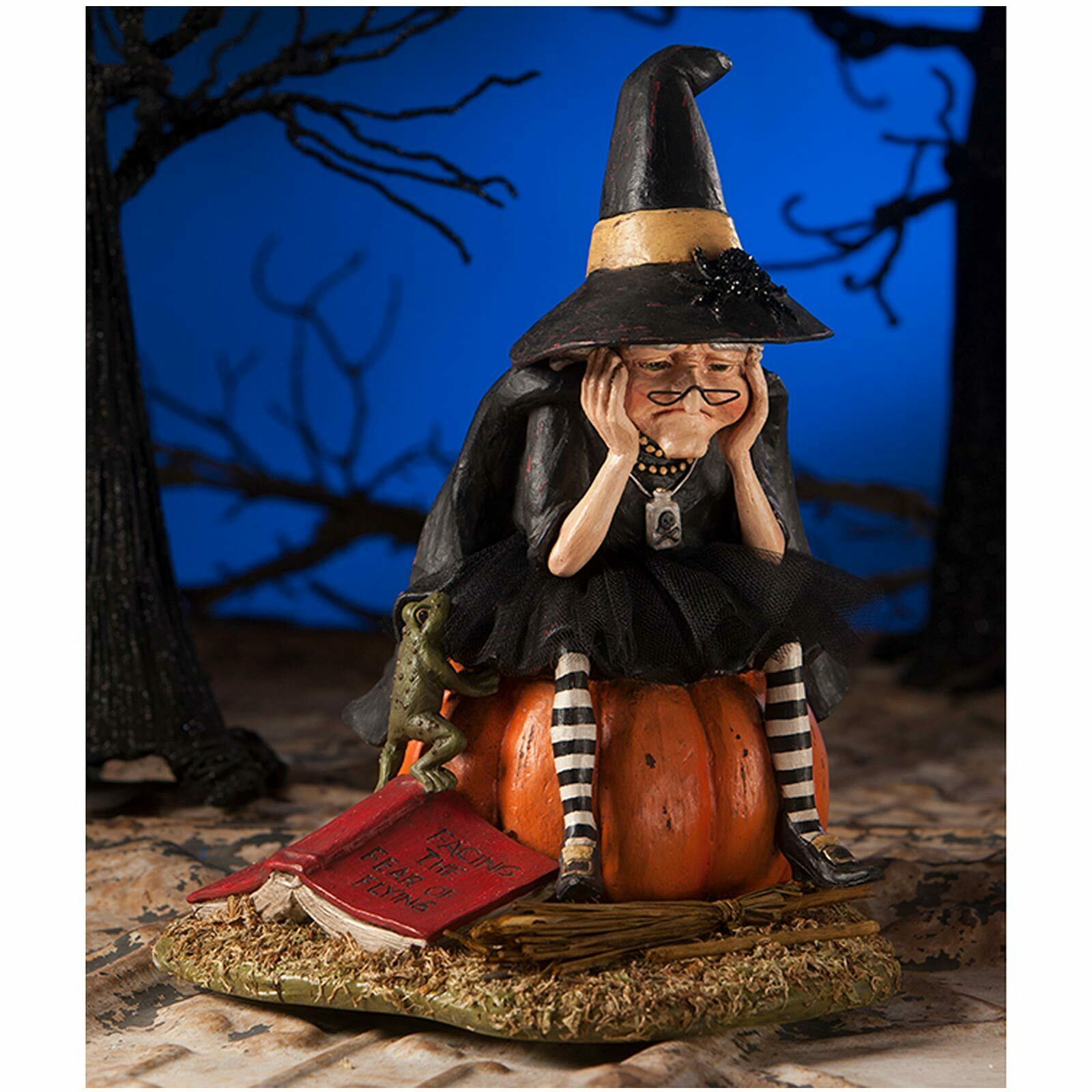 """Bethany Lowe 10"""" Fear of Flying Old Witch Broom Figurine Retro Halloween Decor 1"""