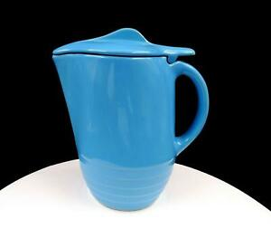 UNIVERSAL-POTTERY-OXFORD-WARE-ART-DECO-TURQUOISE-FLIP-LID-8-5-8-034-PITCHER-1950-039-s
