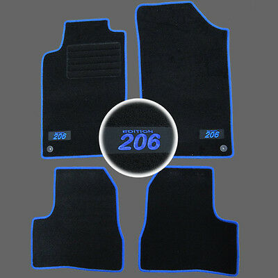4 TAPIS SOL PEUGEOT 206 /& 206SW XN XT XS S16 RC MOQUETTE LOGO BLANC SUR MESURE