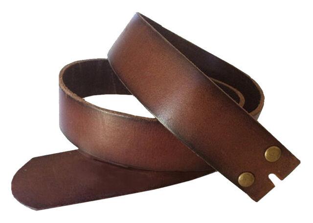 Genuine Leather Snap on Belt Strap Vintage Brown Men's 36 M Removable Western