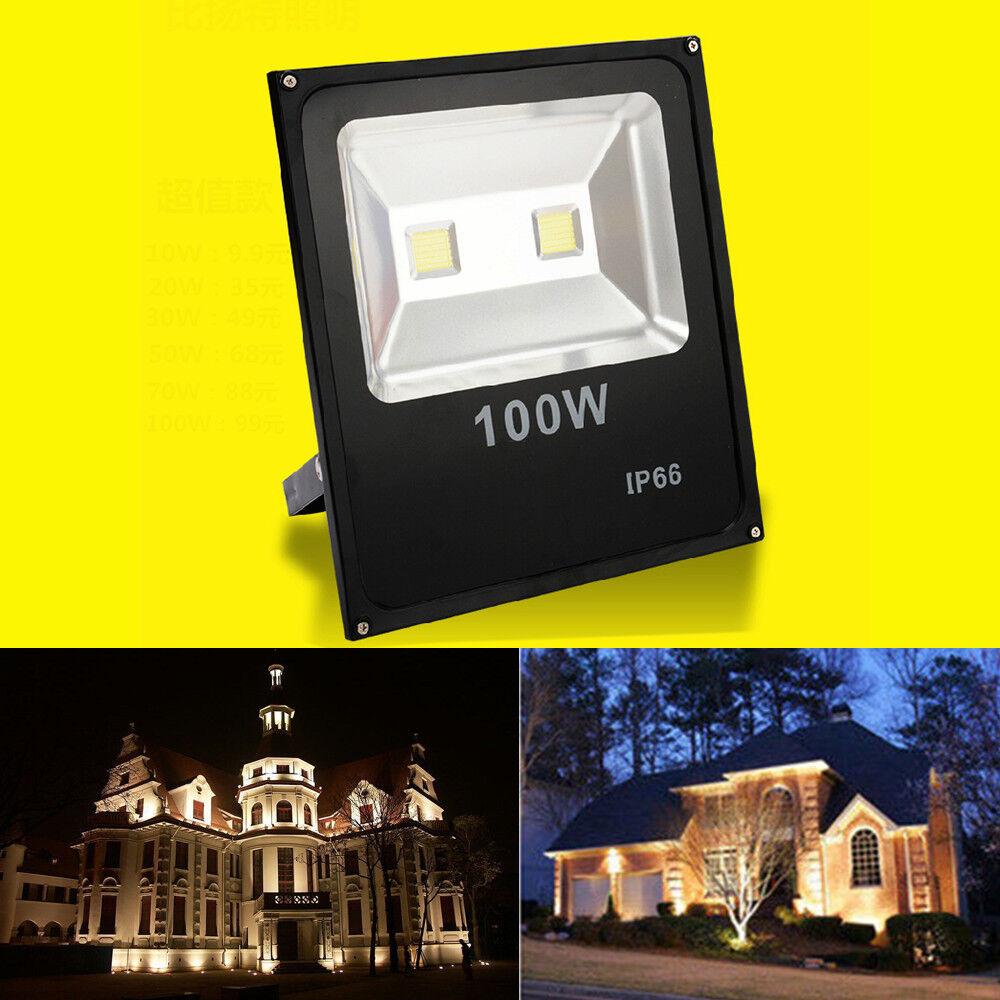 LED Luz De Inundación Punto Jardín Exterior Patio la construcción de la parojo de la lámpara 100W blancoo Cálido IP66