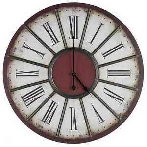 Image Is Loading Elegant Large Beige Amp Red Wall Clock With