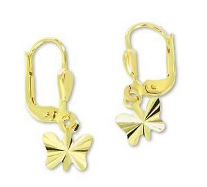 Scharnier Creolen Ohrringe aus Echt Gold 585 Mädchen rosa Schmetterling Klapp