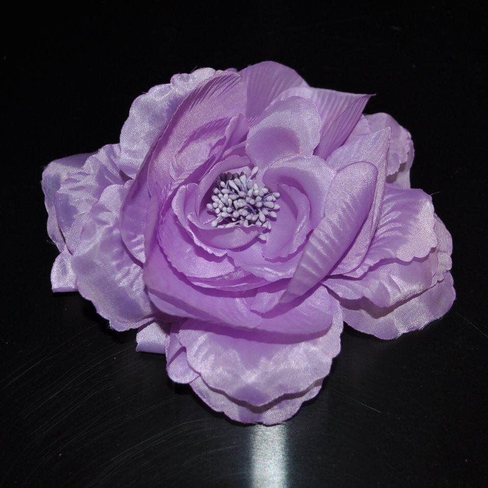 Peony purple silk flower rose brooch pin fascinator hair adornment