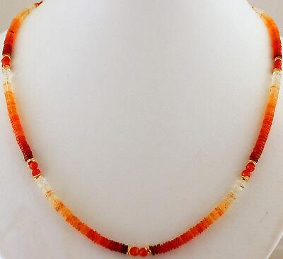 45 cm lang, Edelsteine, Halskette, Collier, orange Natur KARNEOL Splitterkette