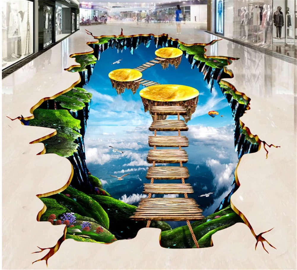 Definite Endless Hill 3D Floor Mural Photo Flooring Wallpaper Home Print Decor