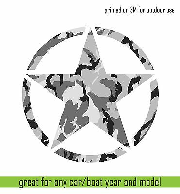 "3m Print vinyl sticker JEEP Army Star Hood Car Window decal Camouflage 20/"" cut"