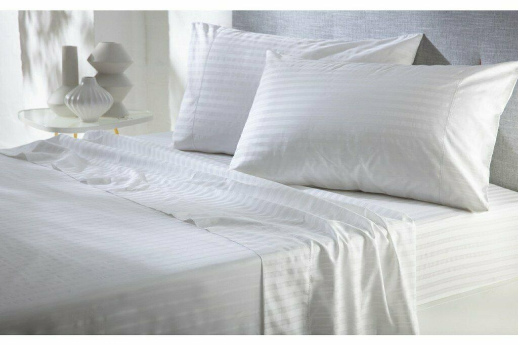 Ultra Soft Bed Sheet Set 100%Egyptian Cotton 1000 TC All Size White Stripe
