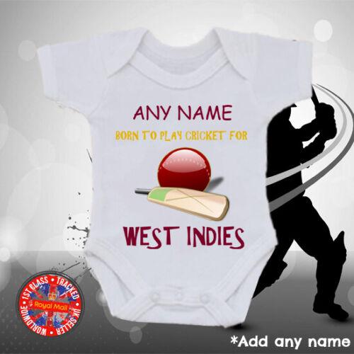 Garçons cadeau Filles West Indies Personnalisé Cricket Baby Grow Vest