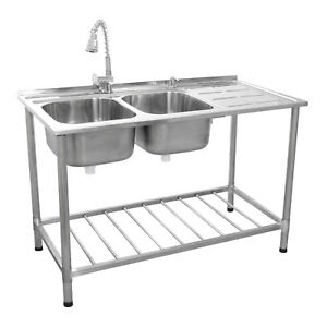 Catering Sink Commercial Stainless Steel Kitchen Double Bowl Drainer Unit Tap Ebay