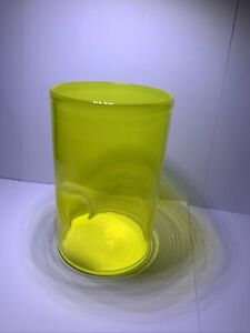 Hand Made Yellow Signed Art Glass Cup Unknown Maker? 5""