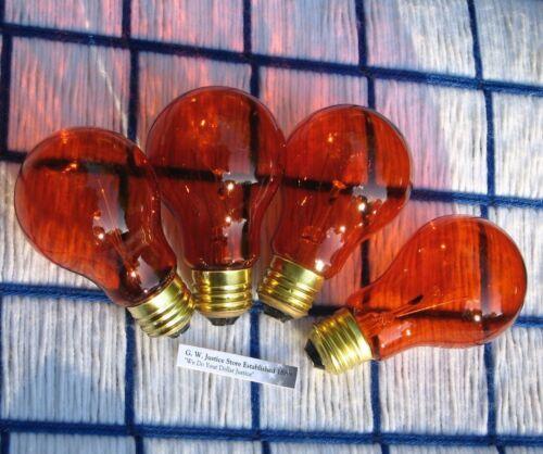 BOXof4 new AMBER orange 25w PARTY LIGHT BULB 25 watt A19 regular 130V FIREPLACE