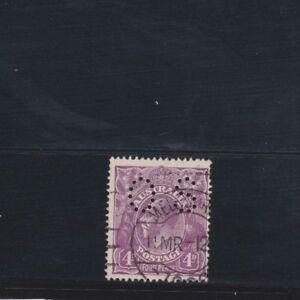 1918-Australia-4d-Violet-KGV-SG-O73-OS-Perfin-Single-WMK-Fine-Used