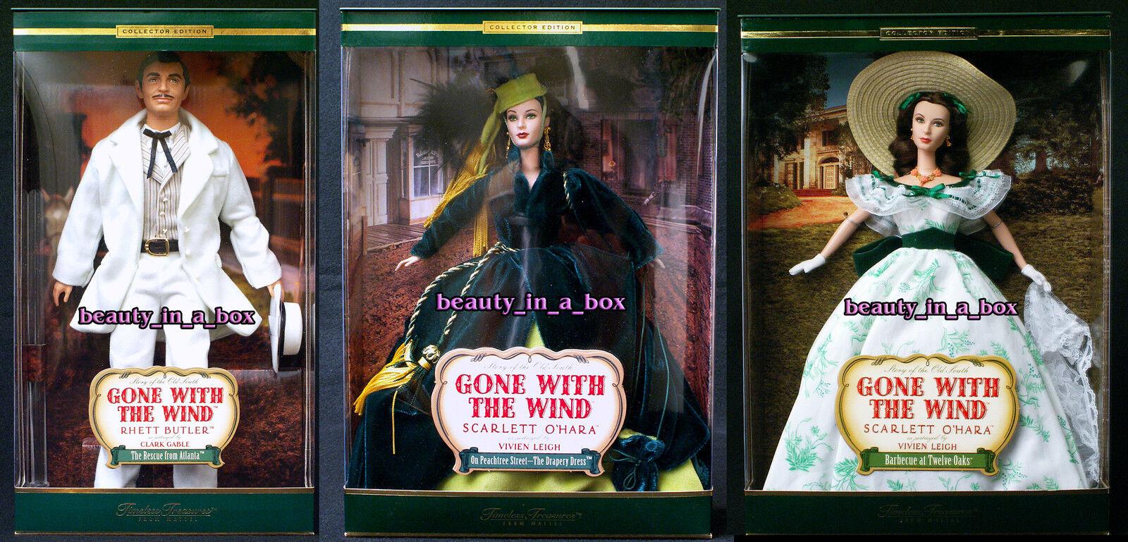 Muñeca Barbie Scarlett O 'Hara Rhett tesoros atemporales ido con el viento Lote 3 G