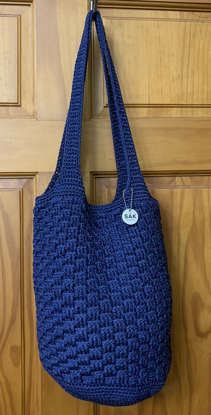 Lined Crocheted Blue Tote Bag