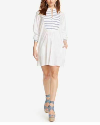 Polo Ralph Lauren Bib Front ShirtDress Größe 8 Weiß Striped NWT