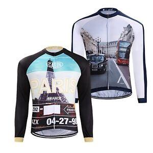 Homme-a-manches-longues-VTT-Cycle-Jersey-Cityscape-Nouveaute-Cyclisme-Tops