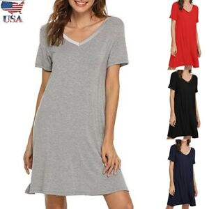 US-Women-Nightgown-Short-Sleeve-Shirt-Dress-Loose-Solid-Pajama-Summer-Sleepwear