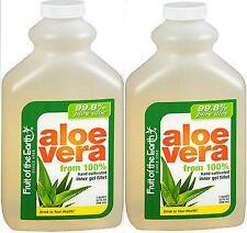 Aloe Vera Juice 99.8% PURE ALOE Fruit of the Earth INNER FILLET 32oz ( 2 pack )