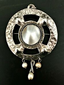 Pendant C.1910 Mary Thew Skillful Manufacture Antique Scottish Arts & Crafts Silver & Pearl Brooch
