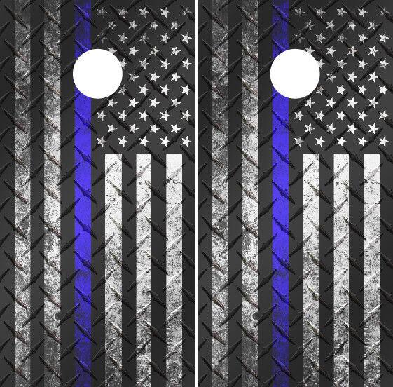 Thin  bluee Line American Flag Diamond Plate  Cornhole Wraps Vinyl Decals  supply quality product