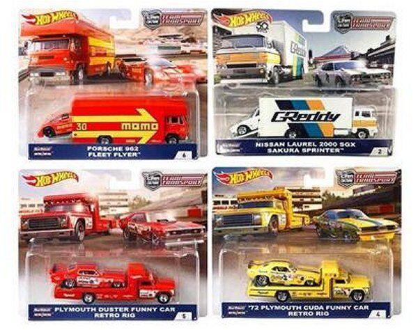 Hot Wheels 1 64 Voiture culture 2018  B  CASE équipe transport Lot de 4 FLF56-956B