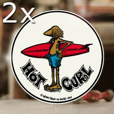 2x Stück Hot Curl Surf Aufkleber Sticker Autocollante Surfing Oahu Aloha col