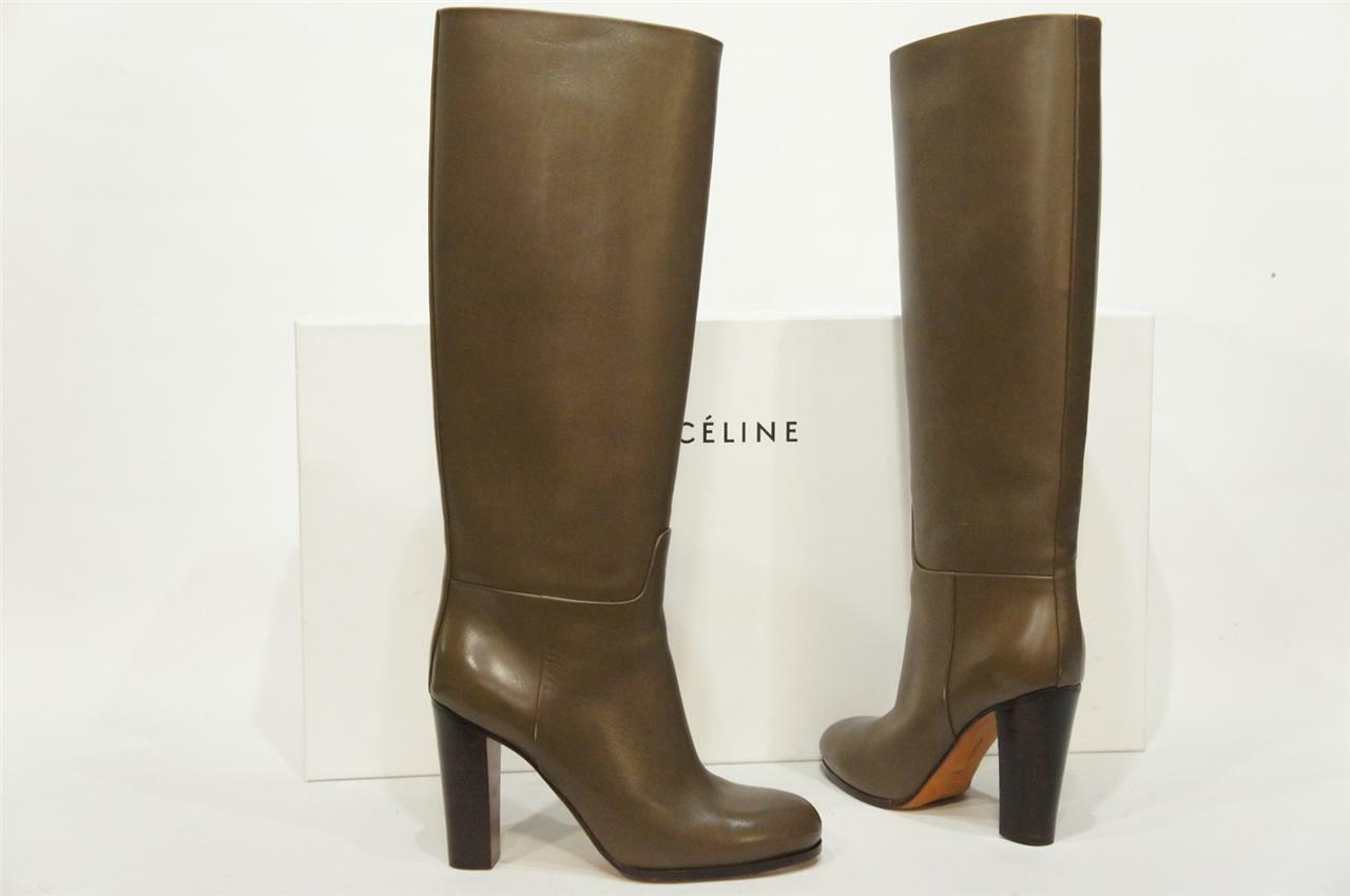 CELINE KAKY TALL LEATHER HEEL Stiefel schuhe 40.5  1495