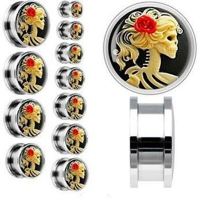 Pair Skeleton Rose gauges ear plugs earrings piercing body jewelry - 6mm to 20mm