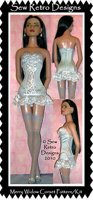 "Ice Blue Lycra & Lace Corset Garters PATTERN/KIT to Sew Fits 22"" Amer Model"