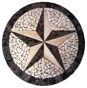 Image Is Loading Floor Marble Medallion Travertine Texas Star Tile Mosaic