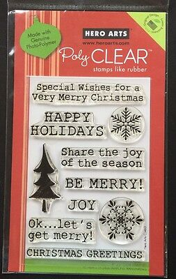 "Hero Arts Poly Clear "" Get Merry"" Christmas Stamps *New*"