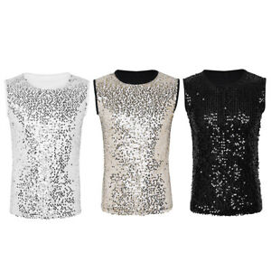 48b3f6506afb1 Mens Sequin Sleeveless Crew Neck DJ Shirts Punk Rock Vests Tank Top ...