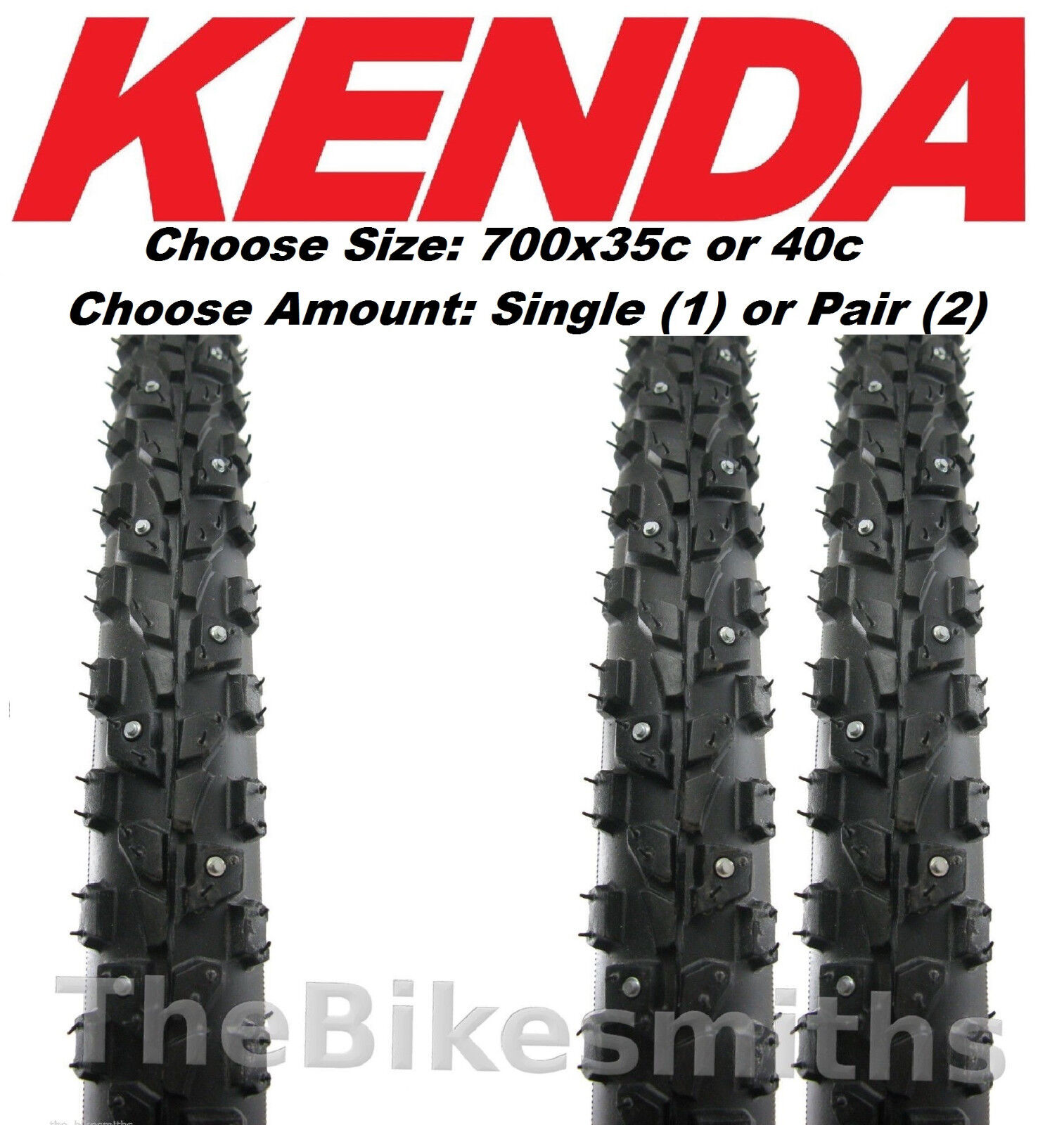 1 or 2Pak Kenda Klondike Skinny 700 X 35 or  40c Winter Ice Studded Bike Tire 29   all goods are specials
