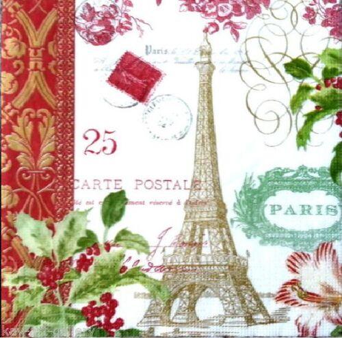 DECOUPAGE CRAFT 20 Vintage TABLE PAPER NAPKINS PARTY TIME// PARIS CHRISTMAS
