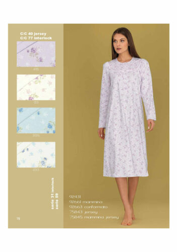 Camicia da notte donna interlock caldo cotone Serafino Fantasia Linclalor92431