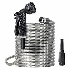 Metal Water Hose 25 Ft Stainless Steel Water Hose With 2 Nozzles Lightweigh
