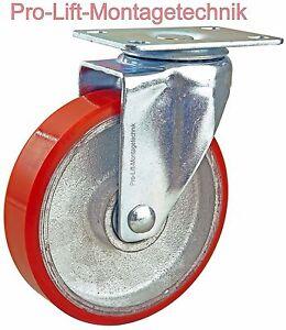 1x-Lenkrollen-110kg-Schwerlastrollen-Rollen-125mm-PU-Rollenbelag-rot-M-01911